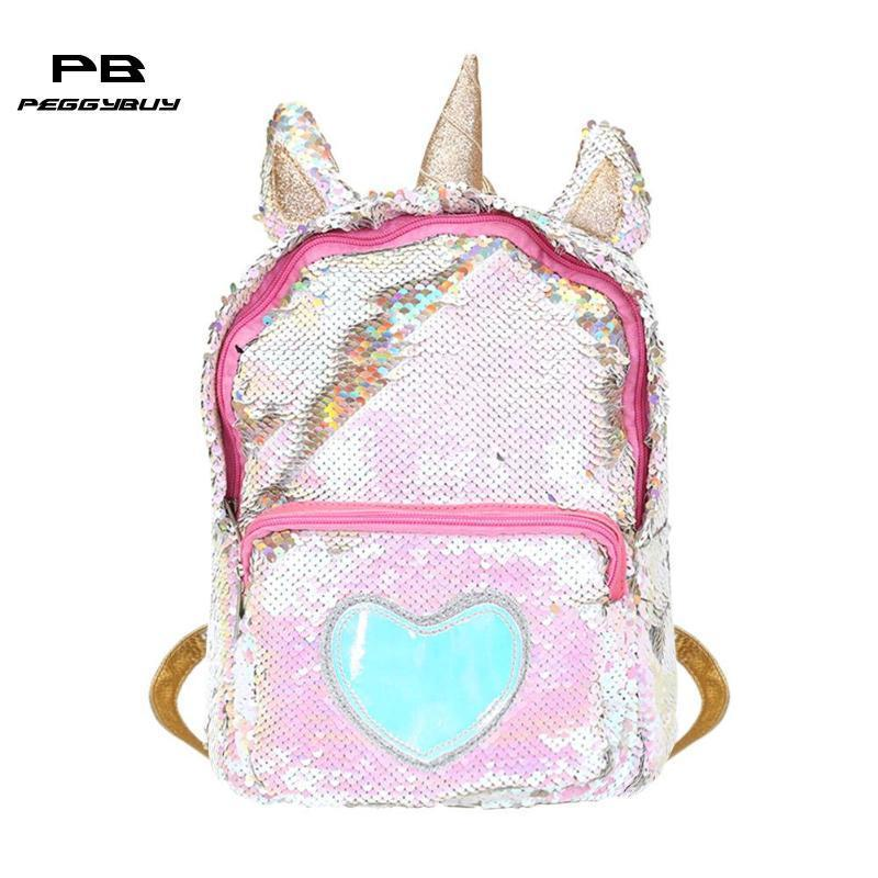 Cute Women's Backpack Ladies Heart Sequins Backpacks Shiny Shoulder Bag Girl Preppy Schoolbags Mochilas Feminina Sac A Dos 2019 MX190708