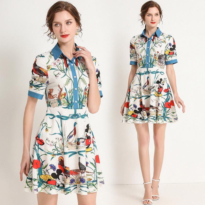 새로운 여름 활주로 우아한 패션 플로랄 프린트 셔츠 드레스 여성 숙녀 섹시 슬림 사무실 캐주얼 짧은 소매 A 라인 미니 디자이너 드레스