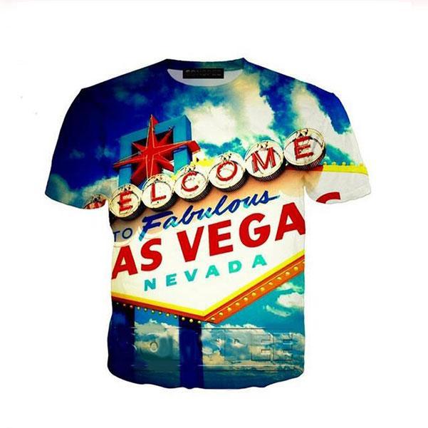 2020 style populaire d'été Mode shirt Las Vegas Homme à manches courtes 3D T-shirts imprimés Hommes Femmes Couples shirt S-7XL XS0326