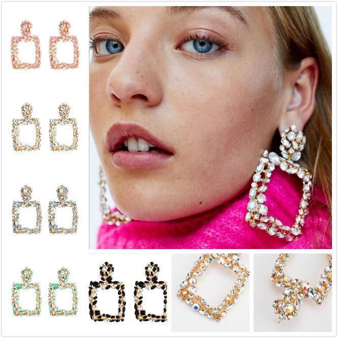 Abartılı elmas Geometrik Kare Küpe Kadın Moda Küpe Bohemya Rüzgar Sınır Ötesi Özel Tedarik 5 RENK