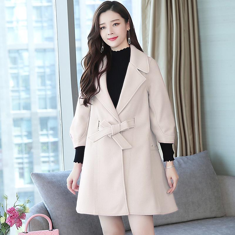 new 2018 winter Korean fashion belt coat long loose thickening, cloak woolen cloth coats women loose plus size outwear tweed
