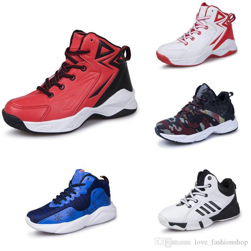 crianças varejo sapatos de designer tênis de basquete meninos jovens Crianças ocasional de luxo esportes de alto-top deslizamento tênis Atlético Sneakers Outdoor