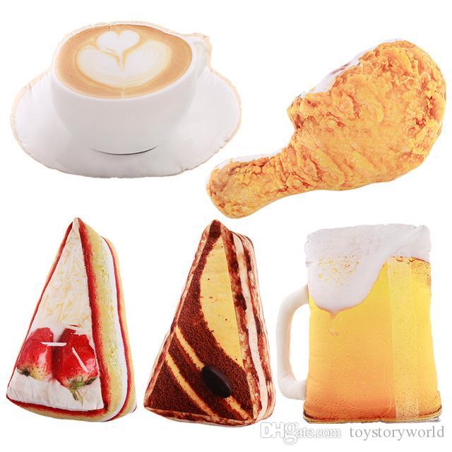 3D محاكاة الغذاء شكل وسادة القطيفة الإبداعية كعكة القهوة البيرة ألعاب القطيفة وسادة أريكة ديكور المنزل مضحك هدايا للأطفال