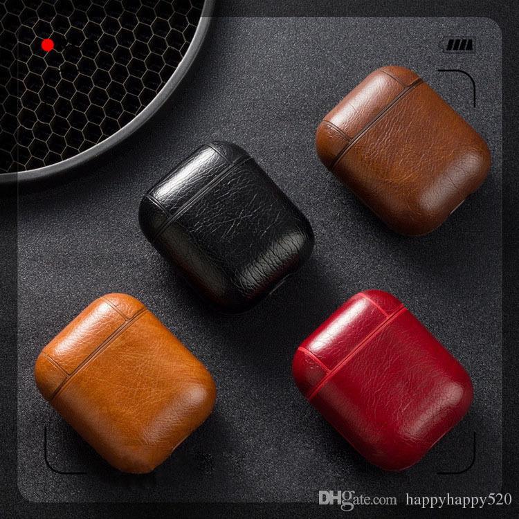 Housse Airpods en cuir de haute qualité pour Apple Airpods, Housse de protection en similicuir anti-crochet, porte-clés pour Airpod 1 2