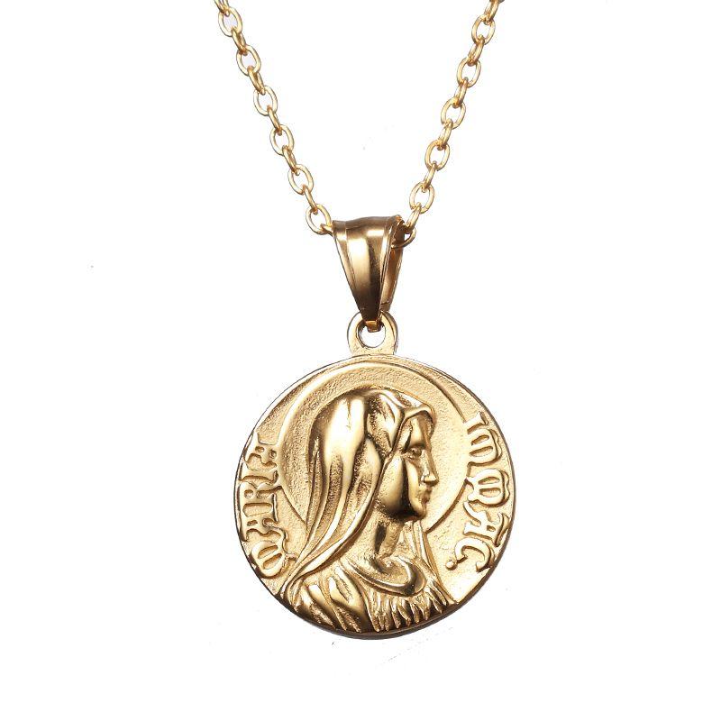 Erkekler Kadınlar Hediyeler İçin Moda Altın Renk Ve Gümüş Renk Charm İsa Meryem Din Para kolye kolye Takı