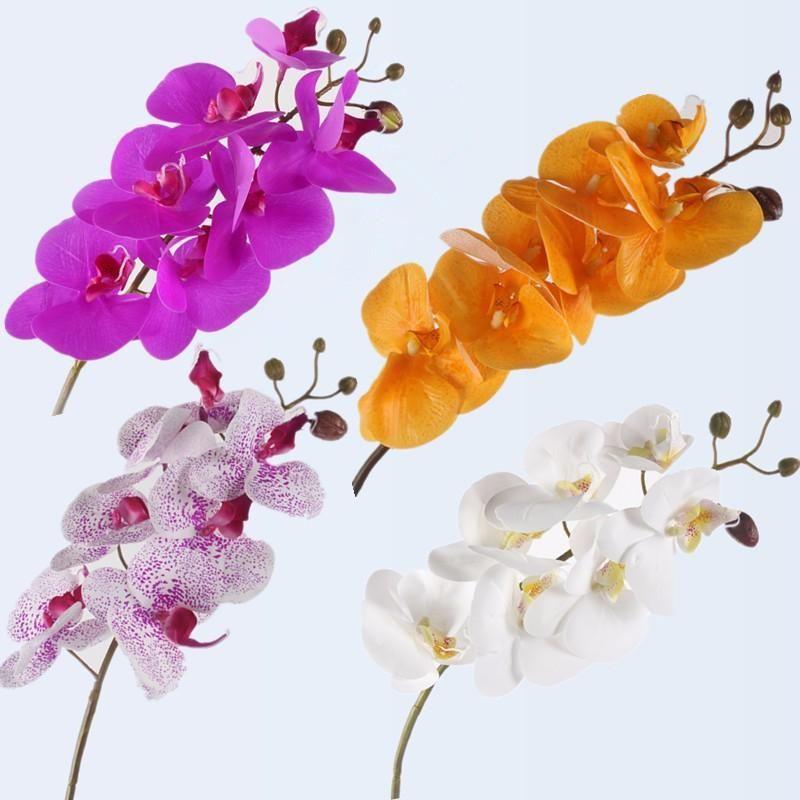인공 난초 꽃 4 색 리얼 터치 인공 나비 난초 플로레스 가짜 식물 웨딩 장식 홈 축제 장식