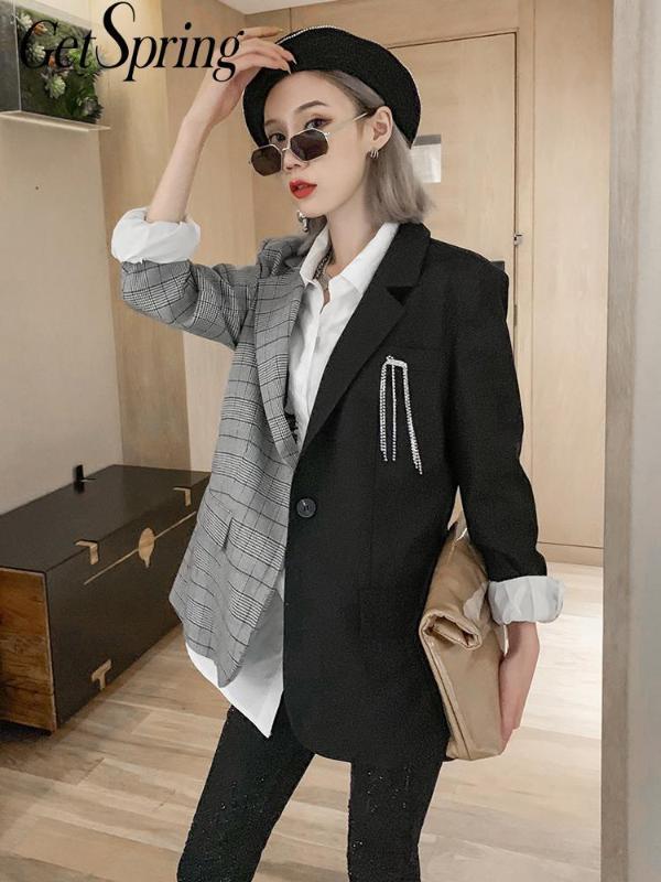 Getspring Mulheres Blazer Color Matching irregulares manta Blazers Jackets Todos Jogo Vintage Casual Womens Blazers manga comprida