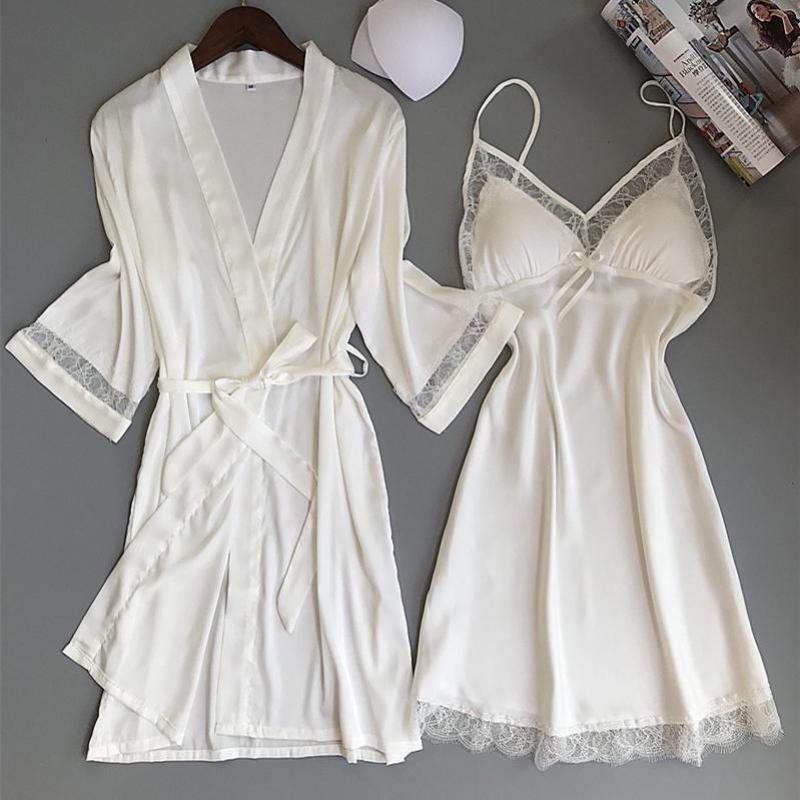 المرأة مثير الحرير الصناعي كيمونو البشكير WHITE العروس وصيفة الشرف الزفاف رداء مجموعة الرباط تريم ملابس كاجوال الرئيسية ملابس نوم