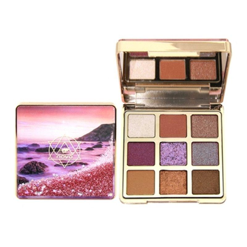 NOVO Quick Sanding 9 цветных палитр теней для век Водонепроницаемый макияж Блеск Shimmer Матовые тени для век Длительный