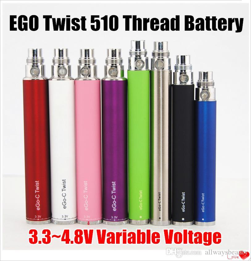 Ego C твист Аккумулятор переменного напряжения Регулируемая батарея для электронных сигарет 650 мАч / 900 мАч / 1100 мАч / 1300 мАч 8 Цветов DHL Бесплатно