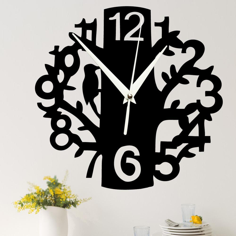 الإبداعية 3d الاكريليك شجرة و الطيور أرقام مرآة ساعة الحائط diy الرقمية إبرة الزخرفية ساعة الحائط ملصقا