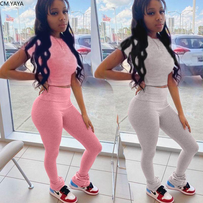 Kadınlar İki adet Yaz Tracksuits O-Boyun Mahsul Pantolon Suit Jogger Sportif Spor Kıyafetler 2 Adet Sokak Tops ayarlar