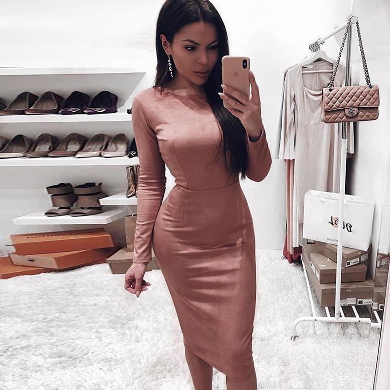 Tasarımcı Kadın BODYCON Elbise Mürettebat Yaka Uzun Kollu Bayan Kalem Elbise İlkbahar Casual Kadınlar Saf Renk Elbise