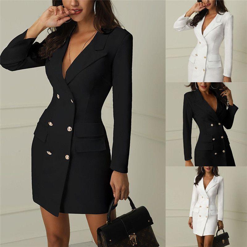 Primavera Autunno sportiva del vestito delle donne casuale Doppio Petto Pocket lunghi delle donne Giacche elegante a maniche lunghe Slim Outerwear formale