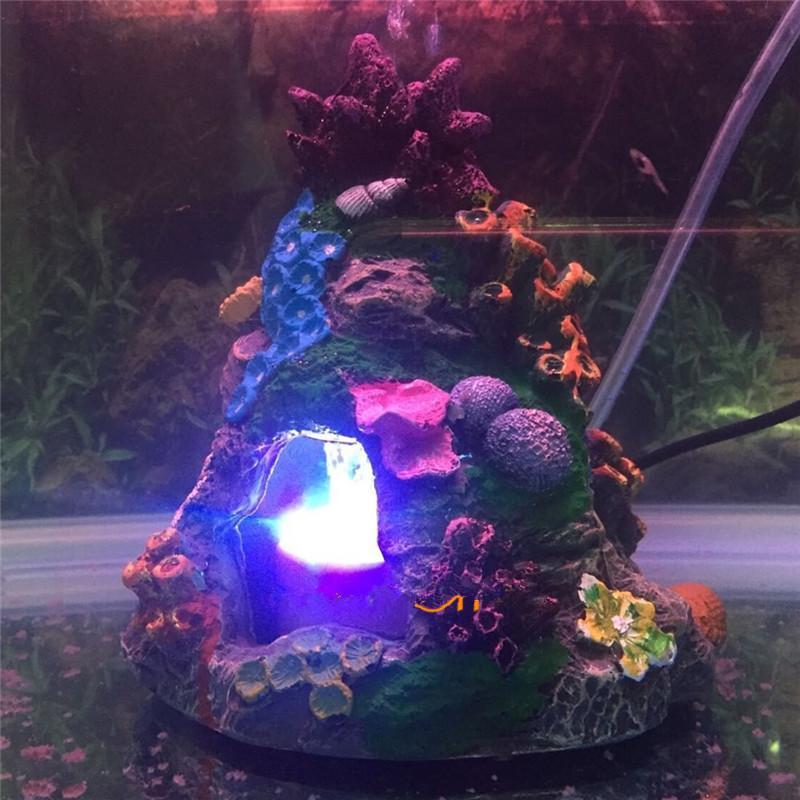 Luz de la decoración del acuario Underwater LED Pescado Evitar el camarón Ocultar volcán Cueva del ornamento del acuario Piedra burbujas de aire Decoración