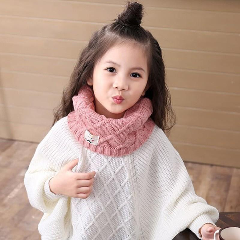 JAMONT Cute Cotton Winter Baby Neck Ring Scarf LICs Children's Girls Boys Knitted Wool O-Scarves for Kids Solid Warm Snood Braga