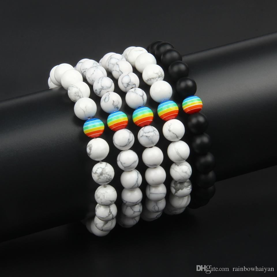 Wholesale 10pcs/lot Couples Bracelets For Lover 8mm Beads Adjustable Macrame Distance Bracelet Hot Sale Promise Bracelet For Gift