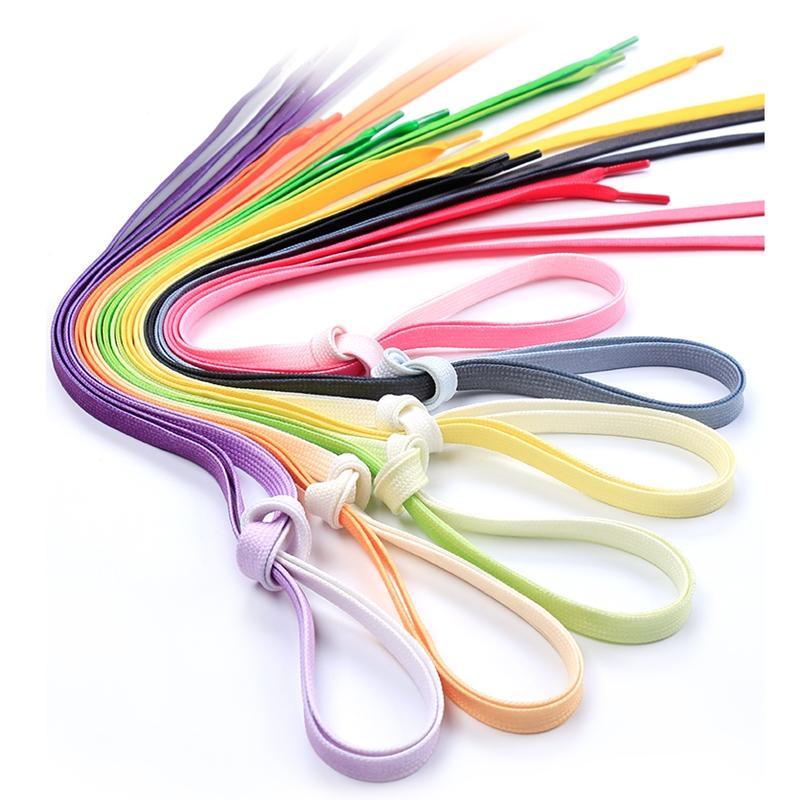 95cm Flat Color Gradient Changing Colors Shoe Laces Rainbow Print Flat Canvas Shoelace Shoes Casual Chromatic Colour Shoelaces