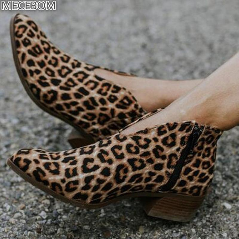 Hot Sale-Women Boots Leopard Print Ankle Ladies Shoes Point Toe Medium Thick Heels Zipper Casual Vintage Wedding Botas Mujer 910w