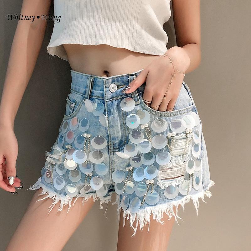 휘트니 WANG 반바지 2020 여름 패션 스트리트 장식 조각의 다이아몬드 술 데님 반바지 여성 청바지 플러스 사이즈 5XL