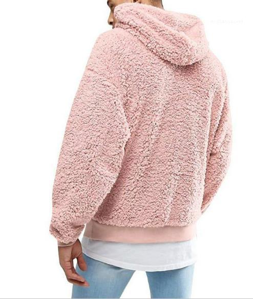 Mens Solid Printed Tops Casual Homme Hooded Clothing Plush Fleece Winter Mens Hoodies Fashion