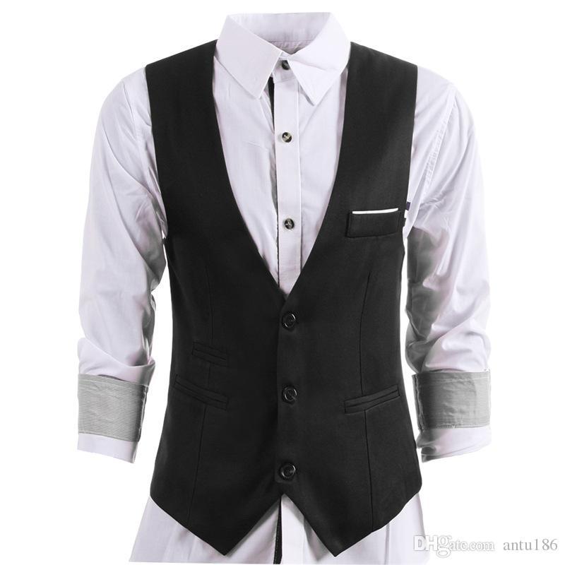 Özelleştirilmiş yeni erkek takım elbise yelek yeni erkek ince V Yaka yelek erkek iş resmi mizaç elbise yelek