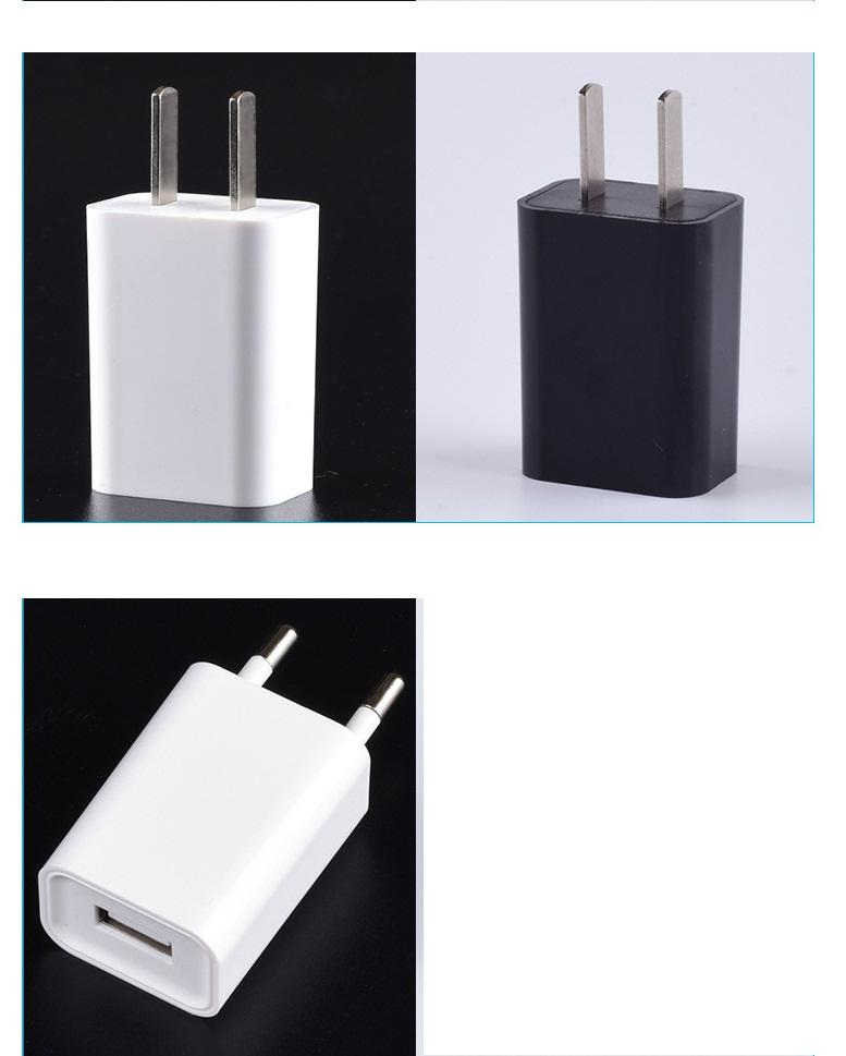 5V Real 1.0A 1 USB Wall Charger AC adapter FOR Smart phone Black White 100PCS/LOT