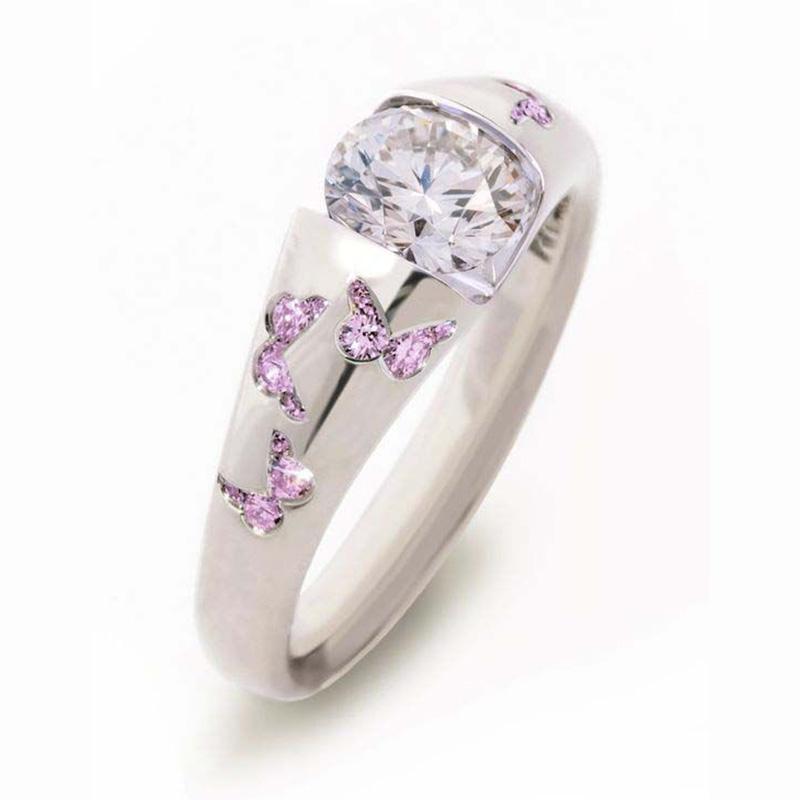 Bonito moda jóias de borboleta Zircon Anel clássico Mulheres Crystal anel de noivado casamento para a menina amigo Partido melhor presente