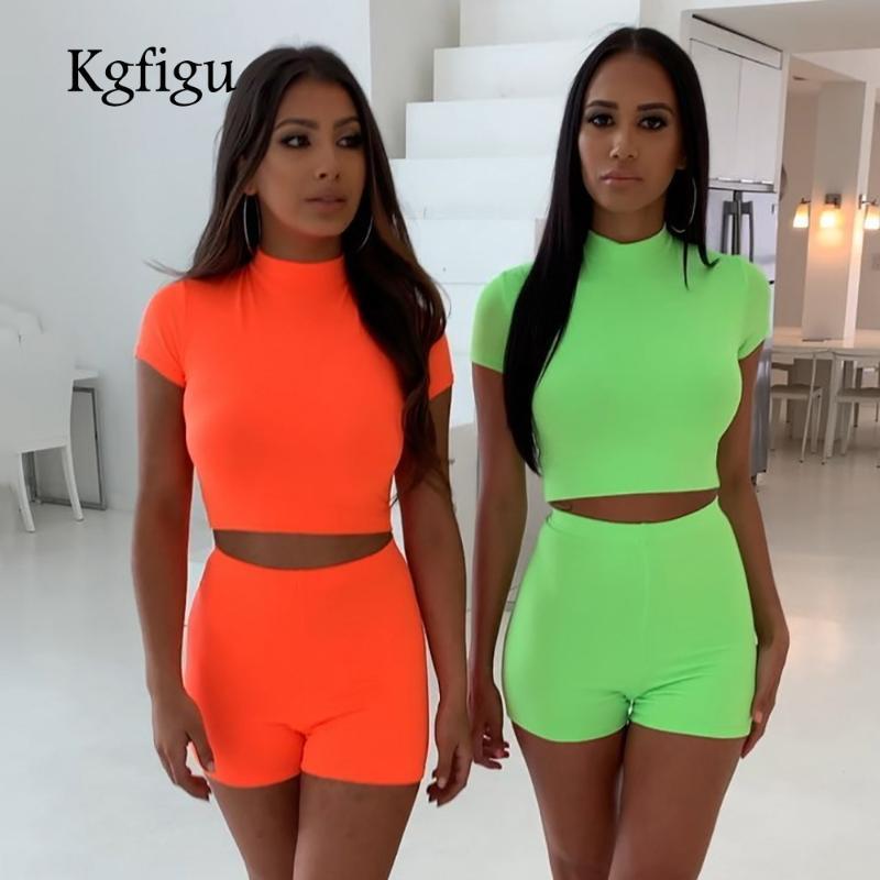 KGFIGU iki parçalı 2019 Yaz yüksek boyun kısa kollu üstler ve şort eşofmanlar, kadın kıyafetler 2 parçalı set kadınları kırpılmış set