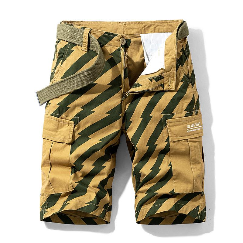 Luulla D'Été Nouvelle Mode Hommes Imprimer Motif Coton Shorts Cargo Hommes Casual Loose Fit Mutil Poches Rayé Shorts Hommes Legwear T200409
