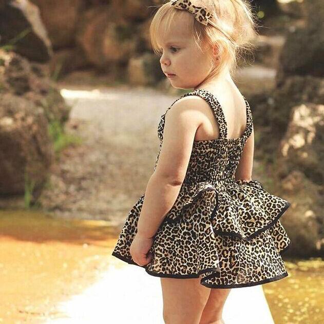 2020 Sommer-Kind-Mädchen-Kleid-Art- und Ärmel Leopard Tutu-Kleid Kinder Kleidung IN Baby-Kleid