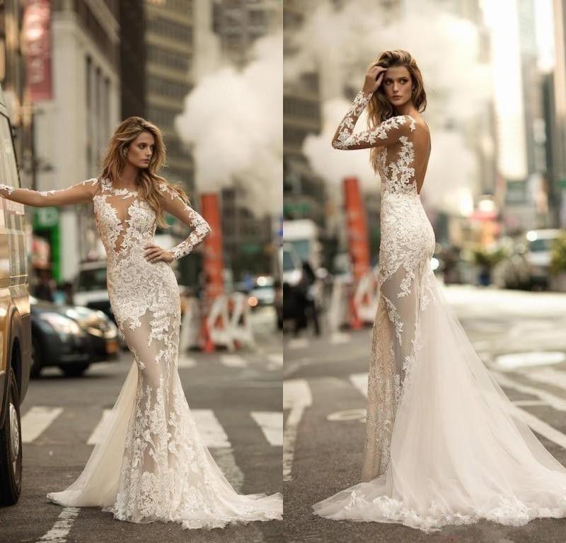 Sexy 2020 Berta Mermaid Wedding Dresses Illusion Long Sleeves Lace Appliqued Sheer Tulle Beach Bridal Gowns Custom Made Vestidos De Novia