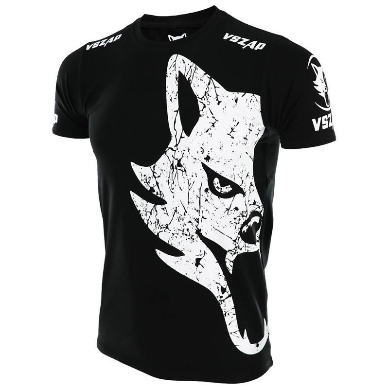 VSZAP Luta Lobo Luta MMA Sanda camiseta manga curta de Fitness Gym Martial Arts vento Muay Thai Kick Boxing T Shirt Boxing Robes