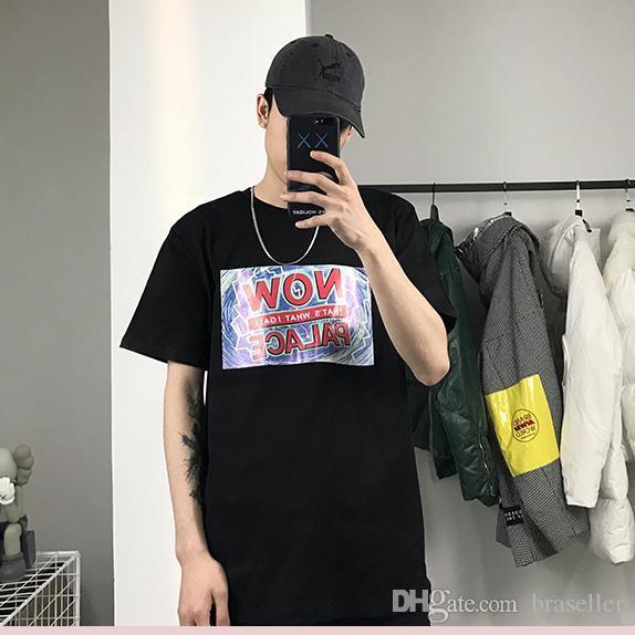 algodón de calidad diseñador de la marca de lujo camiseta para hombre PALACIOS imprimió las camisetas sección delgada ocasional de hip-hop camiseta tendencia de la calle de las mujeres flojas camisetas