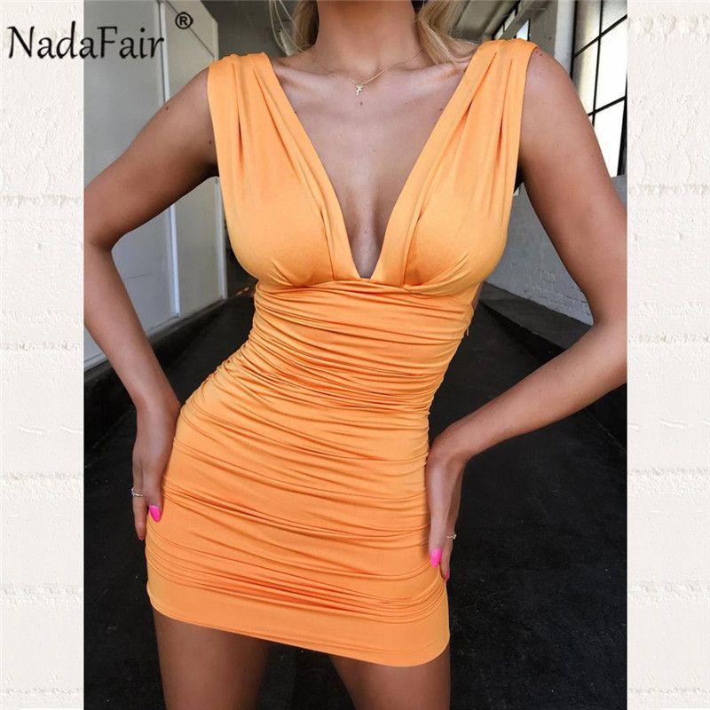 Nadafair Club Party Sexy Bodycon Dress Women Draped Deep V Neck Backless Bandage Ruched Wrap Mini Summer Dress Vestidas Y200418