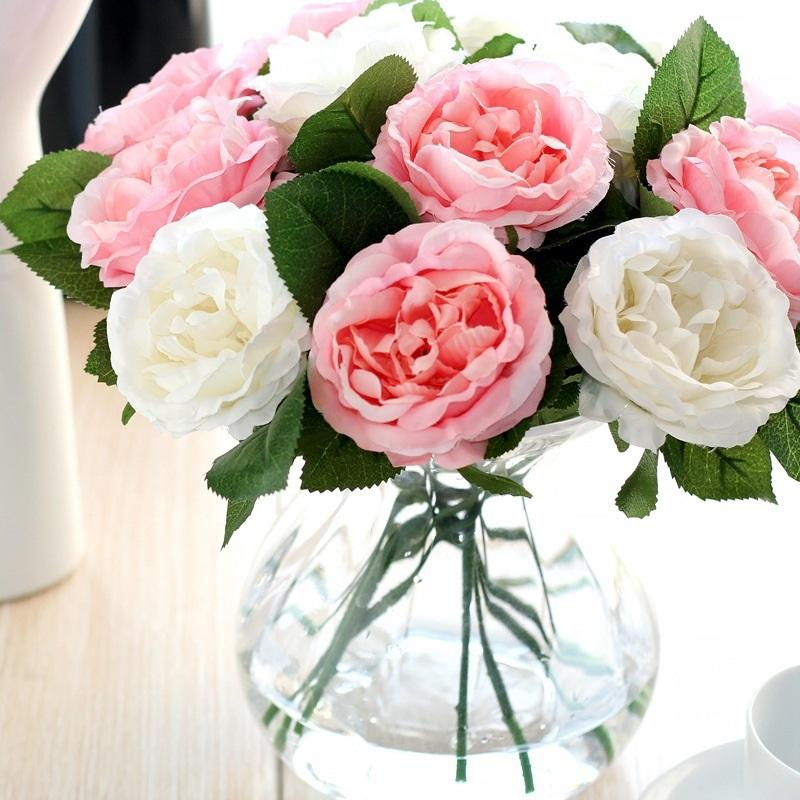 Silk Simulation Rose Flower Artificial Silk Fabric Roses Peonies Flowers Bouquet White Pink Orange Green Red for Wedding Home Hotel Decor