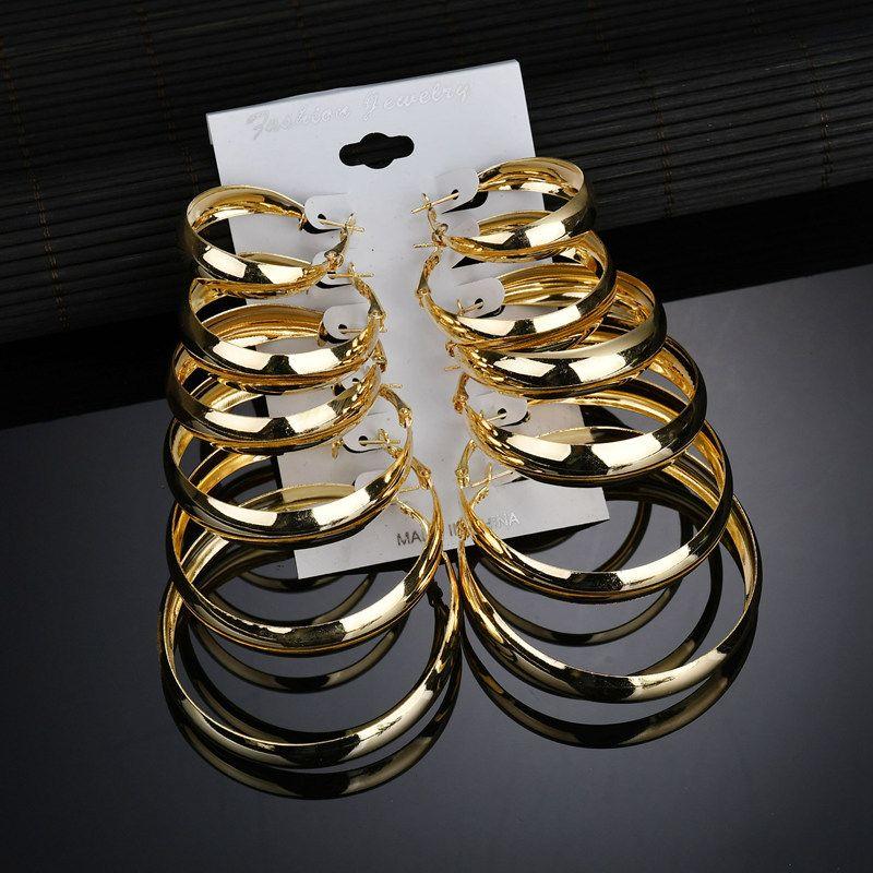 6PCS Moderne Frauen-Ohrringe 2018 Legierung Feine Thick große Kreis-Ohrstecker für Frauen Fashion Edelstahl Schmuck Accessoires