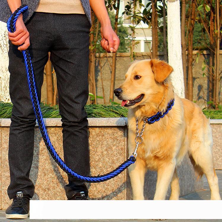 عالية الجودة قابل للتعديل نايلون الياقة الكلب المقود مجموعة لينة طوق للكلاب الأليفة يدوم لدغة المقود حبل P سلسلة كبيرة