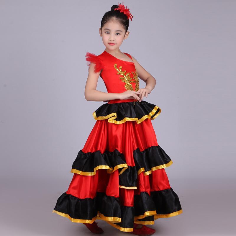 Сценическая одежда 2021 Детская производительность костюм одежды Испания бык танец большая юбка