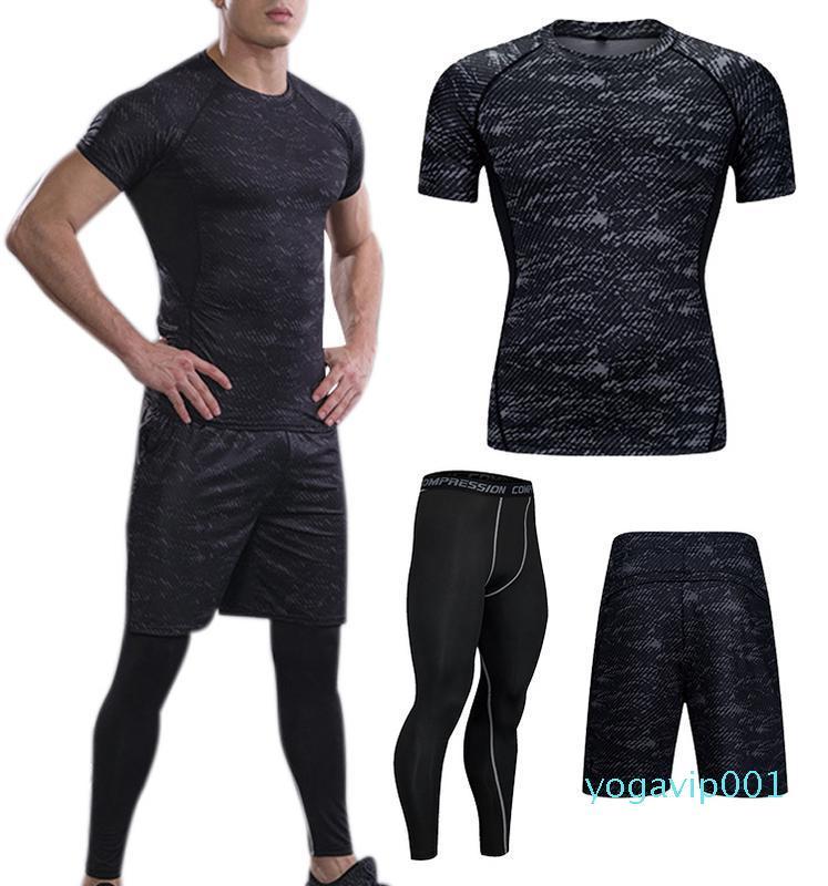 3-Piece Set Sportswear manga curta de secagem rápida compressão calças justas de basquetebol que funciona aptidão desgaste atlético para homens negros