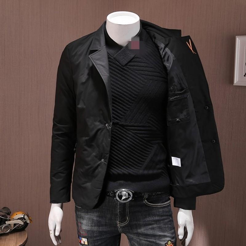 Down Jacket Men Marque Fashion Slim chaud Hiver 2020 Vêtements d'extérieur à manches longues blanc duvet de canard Manteaux courts Costume d'affaires Veste