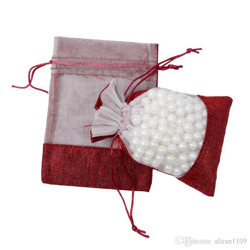 Joyería de yute natural de Hesse arpillera rústica bolsas fiesta de cumpleaños favores de la boda de embalaje saco Bolsas 11x16cm