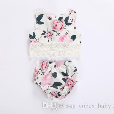 Girls rose flower print lace tassel vest blouse triangle shorts 2pcs summer sleeveless suit wish girl flowerinfant clothing toddler garments