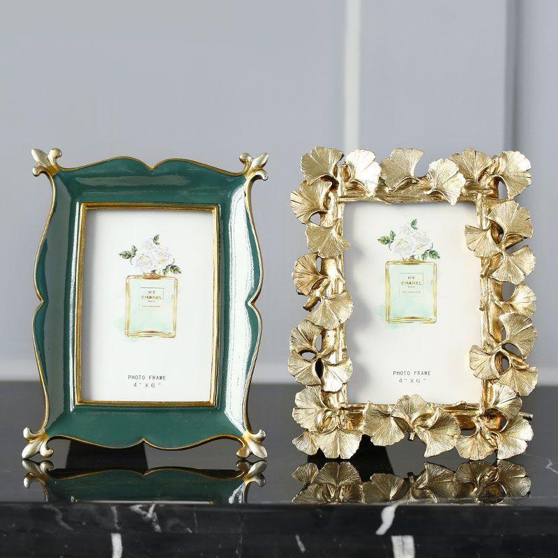 Oro retro del Ginkgo sale del marco de fotos Esmeralda Portarretratos creativo Mini decoración del hogar del marco 4/6/7 pulgadas