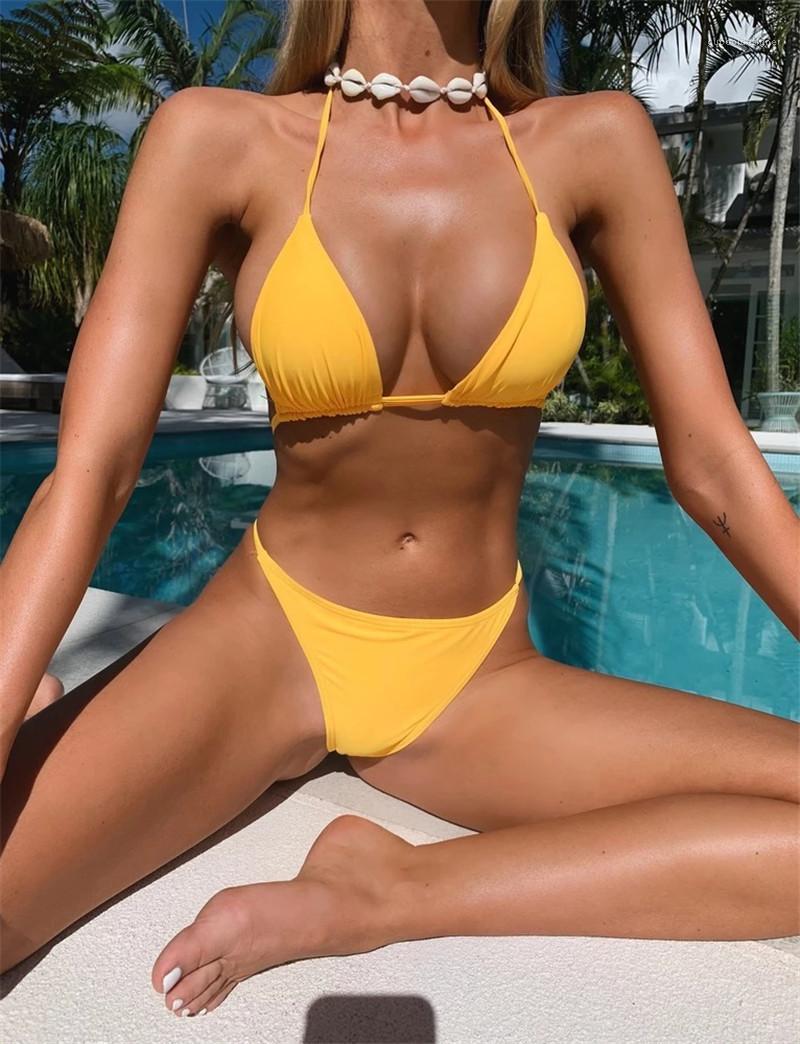لون المثلث بيكيني التجارة الخارجية سبليت ملابس السباحة الموضة ملابس السباحة الشريط مع الصدر وسادة السيدات مثير الصلبة