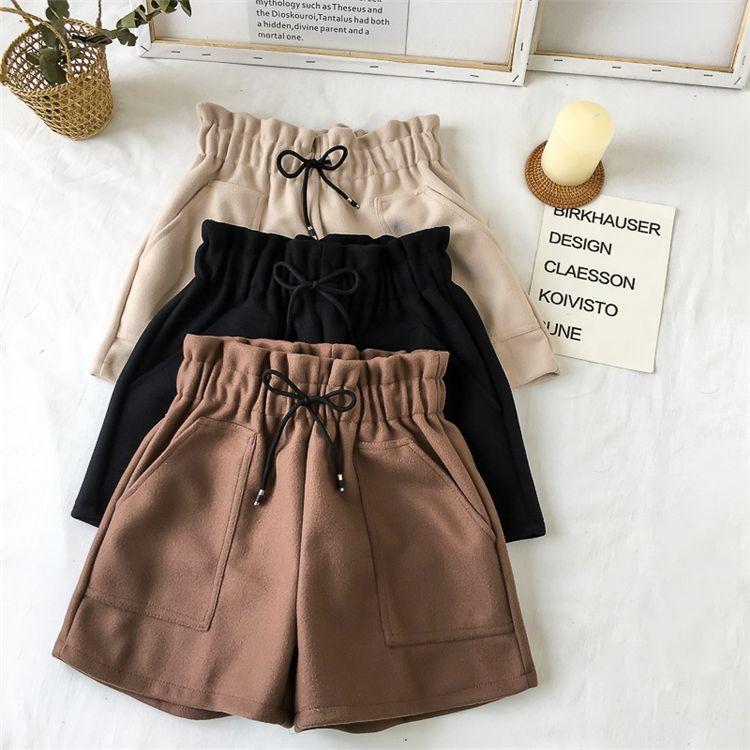 2020 Automne Hiver Femmes Shorts taille haute Short Casual solide en vrac chaud épais élastique Wais2020 Automne Poids droit Booty Shorts Poches Nouveau