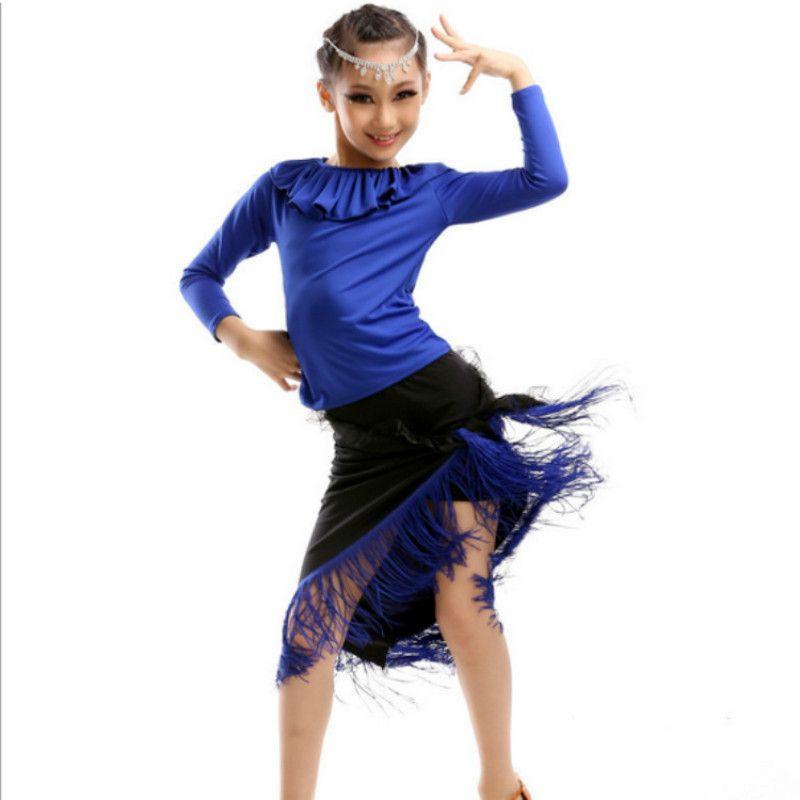 New Latin dance costumes Girls Children Long-sleeved Latin dance skirt Children's clothing Children's stage performances