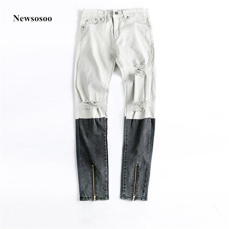 Erkek Jeans Sosoo 2021 Moda Marka Erkek Baskılı Renk Splice Ince Streç Biker Diz Büyük Delikler Sıska Yüksek Kalite Yırtık
