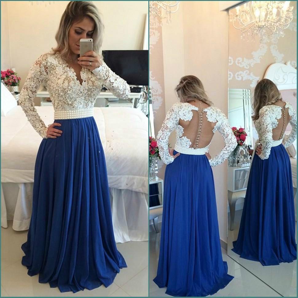 Compre Vestidos De Noche Elegantes Mangas Largas De Encaje Blanco Perlas Con Cuentas Azul árabe Vestido De Fiesta Formal Vestidos Baratos Para Fiestas