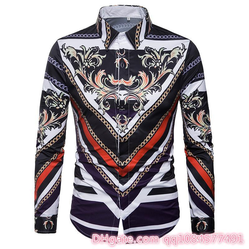 2019 Autumn Shirt Windproof Lapel Floral Print Fashionable 3D digital printing Designer Jackets Designer Clothes Plus SIZE M-3XL